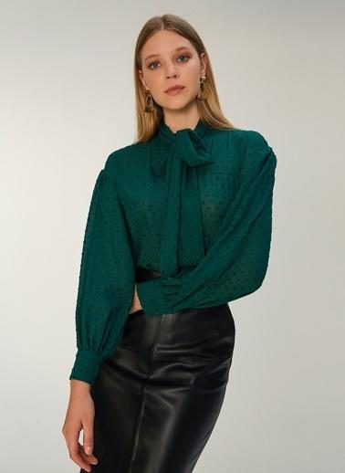 NGSTYLE Şal Yaka Bluz Yeşil